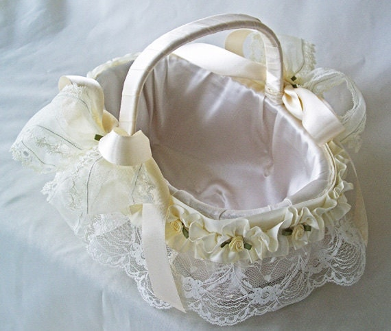 How To Make A Lace Flower Girl Basket : Lace flower girl basket ivory wedding