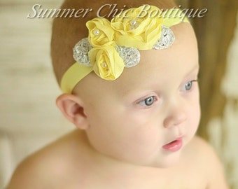 Light Yellow Baby Headband, Infant Headband, Newborn Headband, Shabby Chic Headband, Yellow Triple Chiffon Flower Headband
