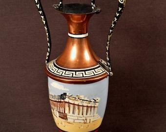 Metal Greek Urn Parthenon Souvenir Greece Vase Hand Painted