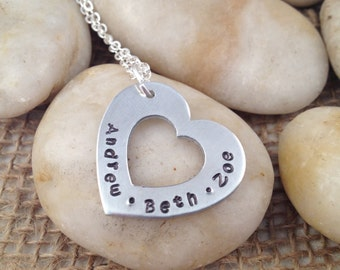 Hand Stamped Heart Mom Necklace with Children's Names - Mother's Day Gift