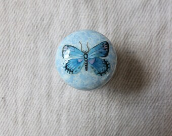 wood knobs, painted dresser knobs, drawer pulls, butterfly image, upcycle furniture, aqua blue, blue decor, cottage chic, painted wood knob.