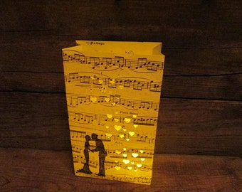 5 Luminary Bags, Bride & Groom, Paper Lanterns, Wedding Lanterns, Engagement Party, Wedding Shower, Rehearsal Dinner, Music Decorations