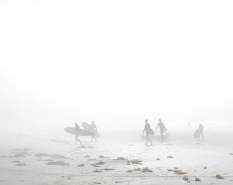 Foggy Surfers on Beach in Tofino, Canada, Vancouver Island, West Coast, Landscape, Wall Art Square Photographic Print, 6x6, 8x8, 10x10
