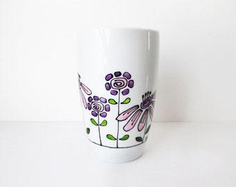 Hand Painted Porcelain Mug with Floral Design, Coffee Mug, Tea Mug, Personalized mug, Home warming gift, Custom Design Mug, Birthday Gift