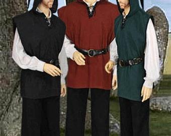 Medieval Men's Tunic with Hood Costume Renaissance Clothing. Handmade