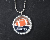 1 Personalized Football Bottlecap Necklaces,GLITTER or Plain, football gifts, football, football gift, football necklace, team gift