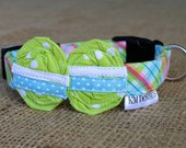 Easter Dog Collar - Spring Pastel Plaid with Green Dot Easter Eggs