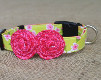 Dog Collar - Bright Green Floral with Hot Pink Flowers
