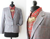 Vintage Wool Blazer / Sports Jacket / Gray / Womens Clothing / Medium Jacket / Fitted / Work Clothes / Hipster Fashion