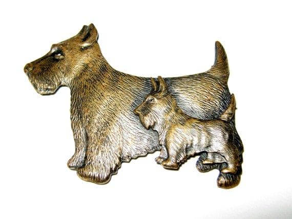 2d825c83f34 Smooches From Pooches: Vintage Antique Art Deco Brass Scottie Dog Brooch Pin