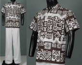 Vintage Mens 1950s 1960s Shirt -- Authentic Tiki Print Cotton Shirt -- Heloise Couture made in Tahiti -- Men's Medium