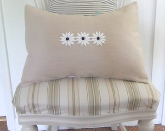 Natural Linen with Vintage White Daisies Cushion