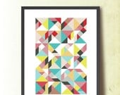 Mid Century Modern Abstract Poster, Geometric print A3, Scandinavian design inspired. Geometric Art. Tangram Wall Art, TANGRAMartworks