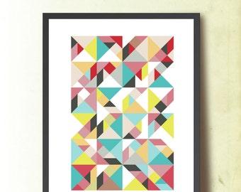 Mid Century Modern Abstract Poster, Geometric print A3, Scandinavian design inspired. Geometric Art. Tangram Wall Art, TANGRAMartworks
