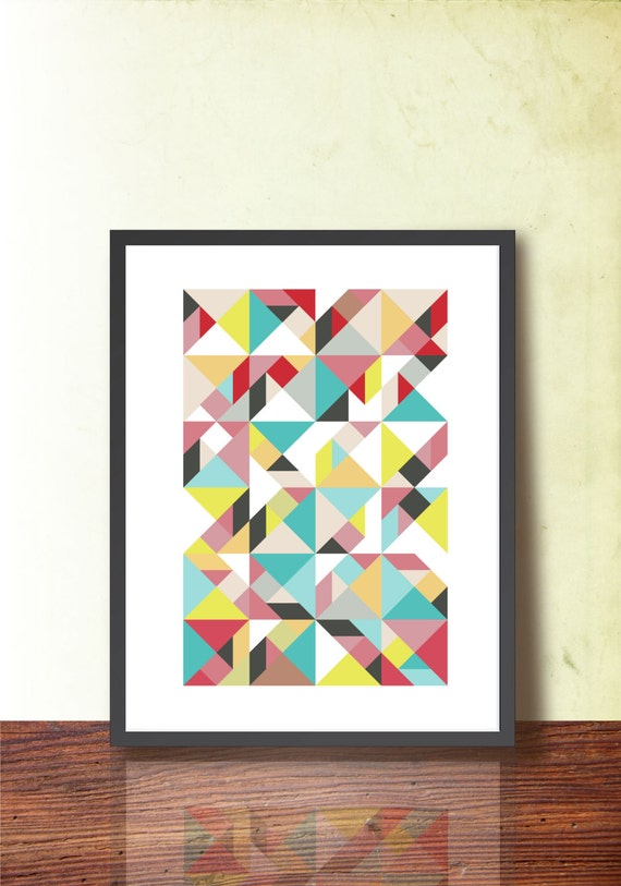 Mid century modern abstract poster geometric print a3 for Modern art home decor etsy