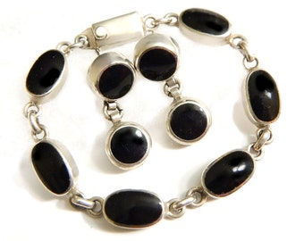 Mexico Sterling Onyx Bracelet Earrings Black Gem Vintage Modernist Mexico Set 925 Sterling Silver SALE Coupon Sparkle2017 For 15% Discount