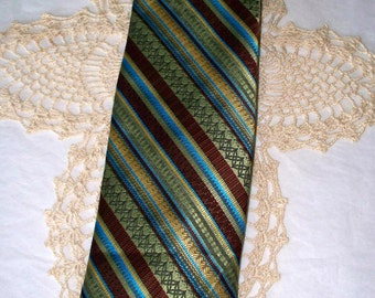 1970s Penney's Men's Tie - Green Brown Yellow & Turquoise Graphic Pattern - Wide Width - 100% Imported Polyester