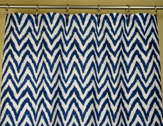 navy blue white diva ikat chevron zig zag curtains rod pocket 84