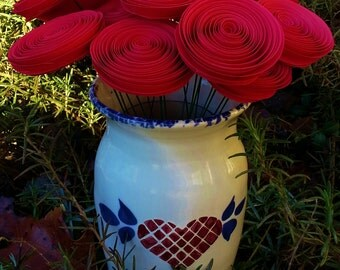 Paper Flower Bouquet - Two Dozen Red Roses - Handmade Rolled Paper Flowers for Brides, Weddings, Showers, Mother's Day