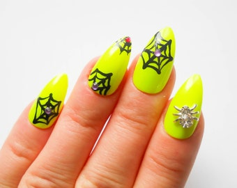 Neon Goth Stiletto Nails, Fake Nails, False Nails, Acrylic Nails, Press on, Nails, Goth, Neon, Spider, Halloween, Cobweb, Spiderweb