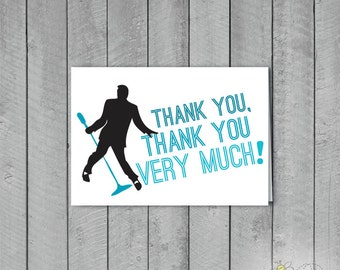"Set of 10 Custom Color Elvis like ""Thank you, Thank you Very much"" Thank you Cards + Envelopes"