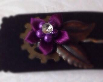 Steampunk Hair Pin Purple Flower