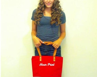 Custom Embroidery Color Block Tote Cotton Canvas Red and White
