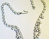 Clear Blue Rhinestone Necklace Choker Costume Jewelry Blue Bridal Prom Elegant