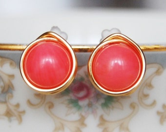 Pink Coral Earrings , Bridesmaid Earrings , Pink Coral Studs , Gold Wire Wrapped Post Earrings