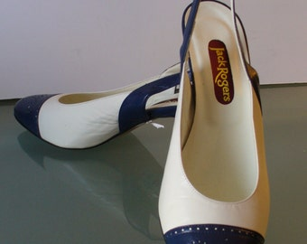 Vintage Made in Italy Jack Rogers Slingback Spectator Pumps Size 7.5US