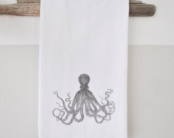 Octopus Dish Cloth - printed dish cloth - dish cloth - hand towel - beach decor - nautical dish towel - nautical home decor - octopus