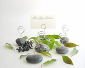 6 Petite Black Tie Maine Beach Stone Dinner and Event Place Card Holders