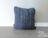 """DIY Crochet PATTERN - Chunky Cable Twist Crochet Pillow Cover Approximately 20"""" x 20"""" (pillow005)"""