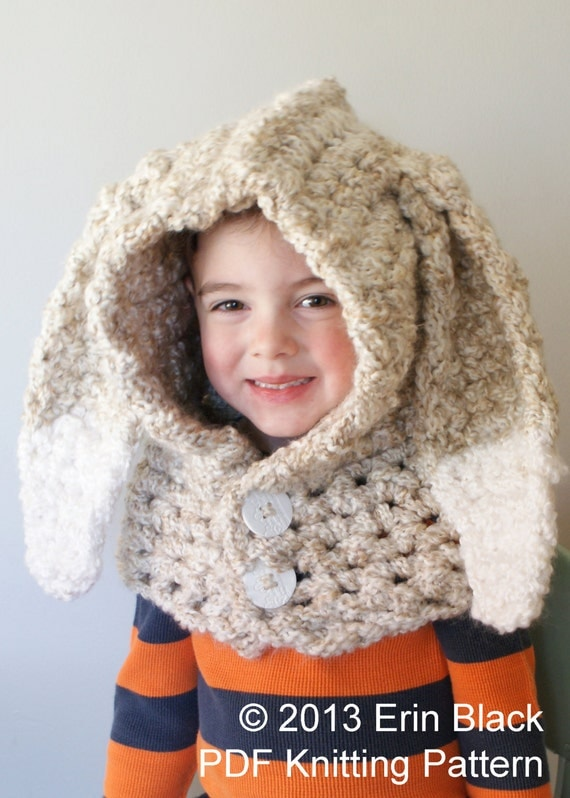 DIY Crochet PATTERN - Chunky Crochet Bunny Hood in Toddler, Child and Adult Sizes (hat021)