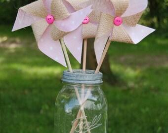 Baby Pink Polka-Dot Rustic Burlap Pinwheel Decoration