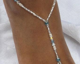 Blue Barefoot Sandals Crystals Barefoot Sandles
