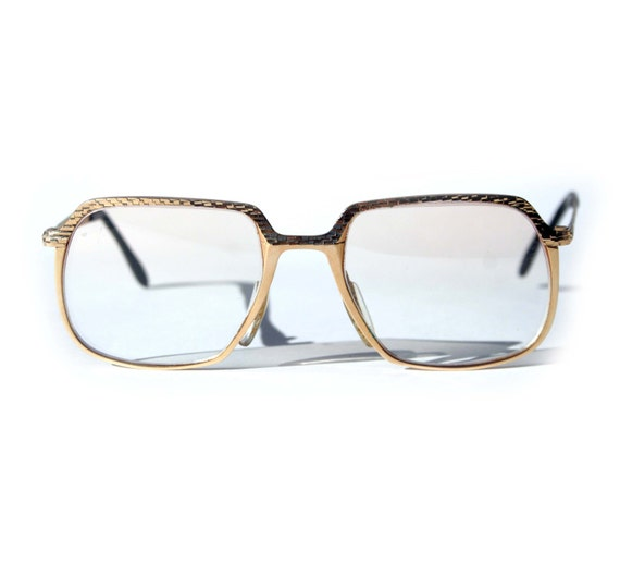 Gold Filled Eyeglass Frames : Vintage 60s 14K Gold Filled Square Glasses Brutalist Mod
