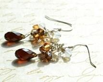 Swarovski Crystal Teardrop Earrings, Brown Ombre Earrings, Sterling Silver, Bridal Crystal Earrings, Swarovski Jewelry