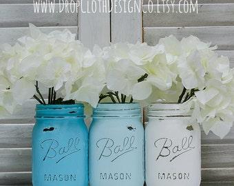 Painted Mason Jar Vases - Turquoise and White