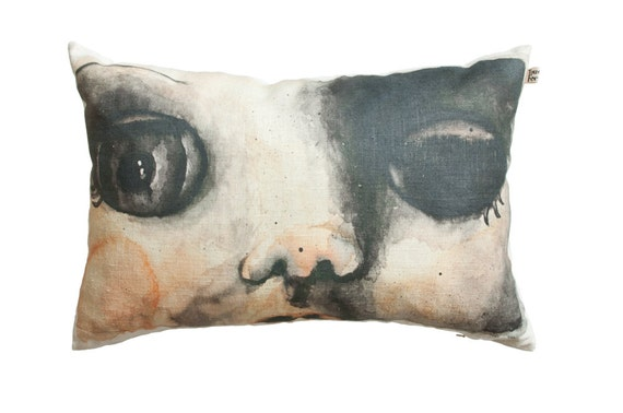 How To Make A Doll Decorative Pillow : Decorative pillow case doll face scatter cushion cover