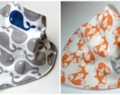 Bandana Bib-Scattered Fox or Whale-Gender Neutral, Reversible, Custom Made, Made to Order, Baby Boy or Girl, Baby Shower Gift, Special Needs