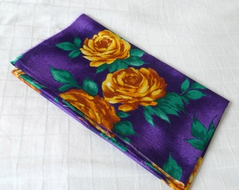 Vintage fabric - original 1970's vintage cotton, fat quarter (60cm x 53cm), purple with yellow roses