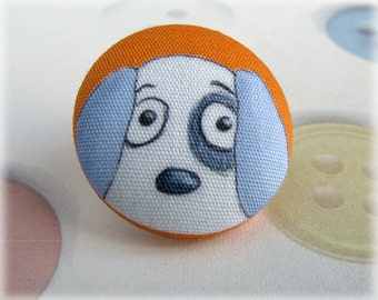Dog Button Brooch Orange Puppy Clutch Pin Fabric Covered Button Bright Citrus Jewellery Jewelry Badge Tangerine Tie Tack