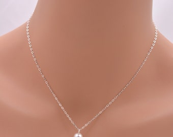 Set of 4 Bridesmaid Single Pearl Necklaces, 4 Pearl Necklaces, Sterling Silver Bridesmaid Necklaces, One Pearl Necklace, Pearl Pendant 0086