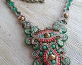 Spring Fling. Handmade soutache necklace. Vegan friendly.
