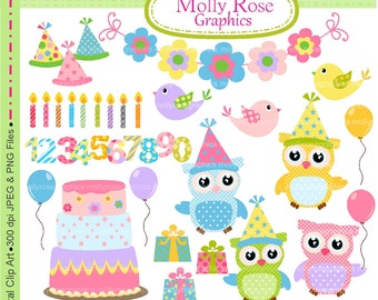 SALE Birthday ClipArt 'owls.,  M.66 Happy birthday owls clipart, cute owl clipart, birthday clipart, balloons, cake, printable scrapbook
