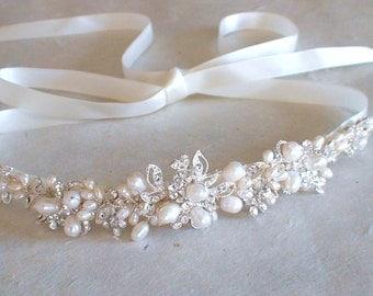 Bridal headband. Bridal head piece. Wedding head band. Pearl headband. Ribbon headband. Bridal headpiece.