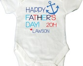 Personalized 1st Fathers Day Shirt or Bodysuit with Nautical