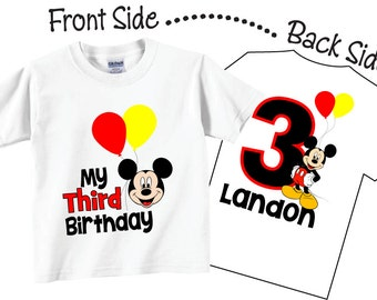 3rd Birthday, 1st Birthday, 2nd Birthday or any Birthday Shirts with Red and Yellow Balloons