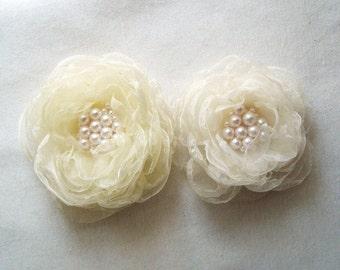 Summer Wedding Flower Bridal Accessories Hair Clip Ivory Organza Flower Hair Accessories Bridal Hair Clip Bridesmaid Hair Flower Girl
